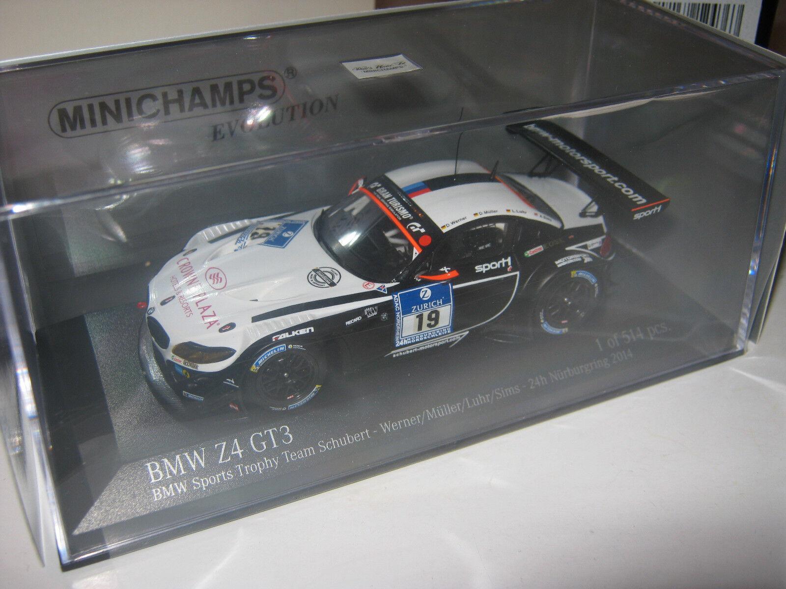 1  43 BMW z4 gt3 W. Müller 24 Hrs. Nürburg 2014 Minichamps 437142019 neuf dans sa boîte nouveau le  offres de vente