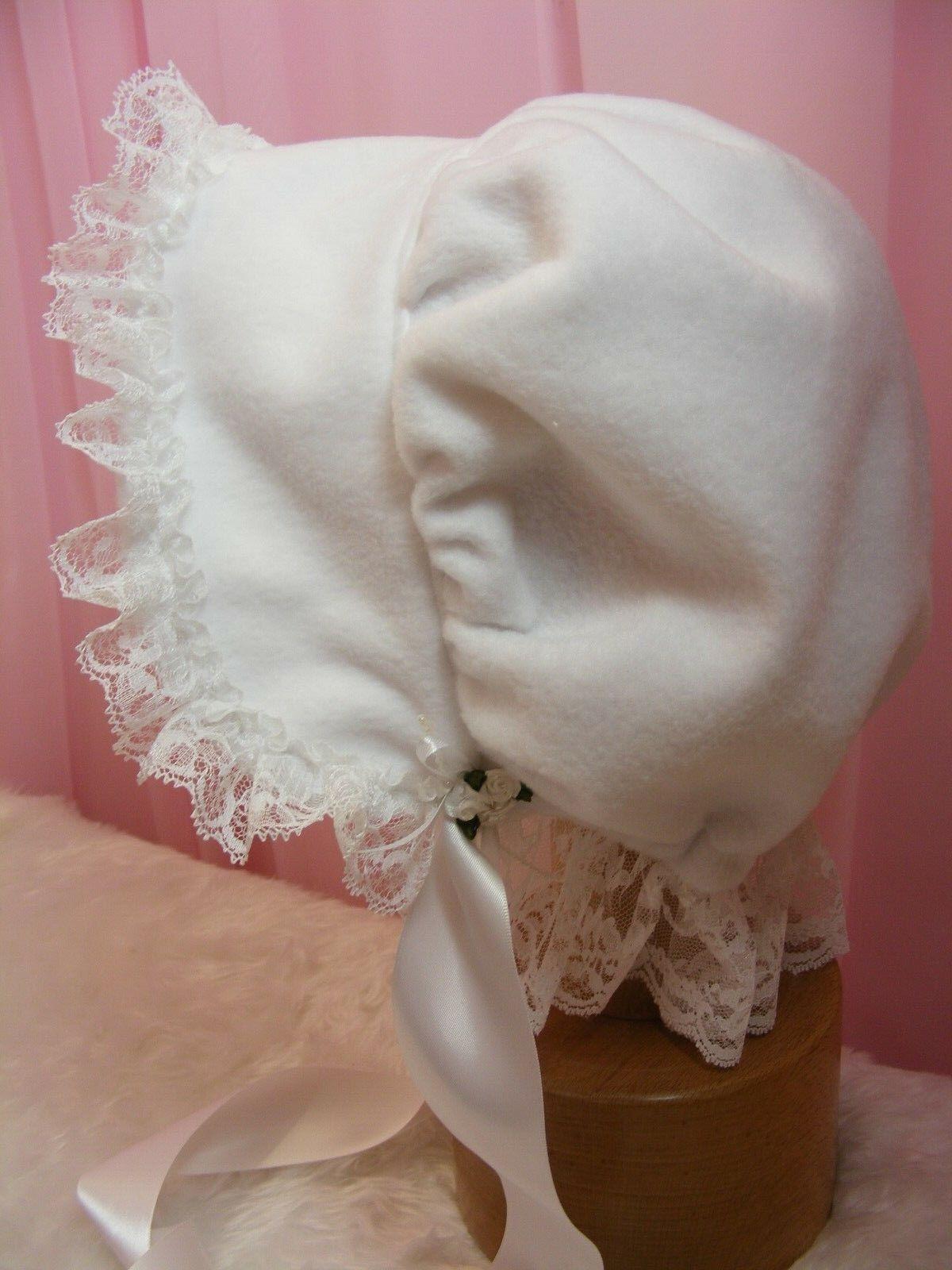ADULT BABY SISSY BONNET soft white fleece COSPLAY LOLITA FANCY DRESS ROLEPLAY