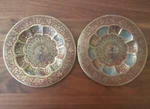 Image is loading 2-Small-Decorative-Hanging-Metal-Peacock-Plates & 2 Small Decorative Hanging Metal Peacock Plates | eBay