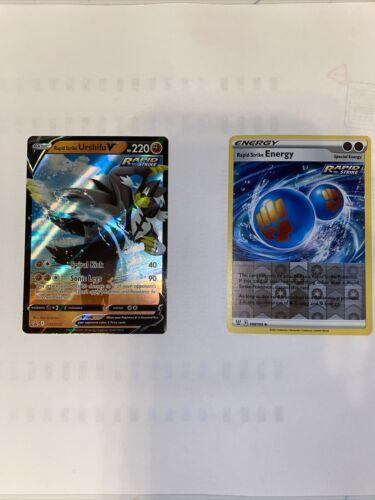 Rapid Strike Urshifu V Black Star Promo swsh 107 +  Energy Reverse Holo Set