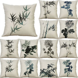 Case-Pillow-Cotton-Home-Cover-18-034-Cushion-Chinese-painting-wash-Linen-Decor