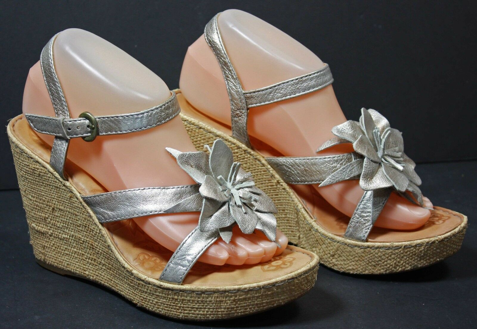 Born Womens Sandals size 9 M Metallic Silver Leather Platform Wedges WF1