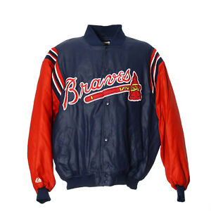 Majestic-Atlanta-Braves-College-Jacke-2XL-XXL-Vintage-MLB-Baseball-Sport-Jacket