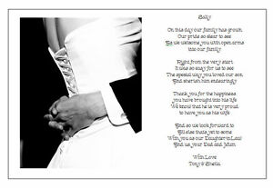 Wedding Gift From Groom To Father In Law : ... Wedding Day Poem GiftFrom Grooms PARENTS TO DAUGHTER IN LAW eBay