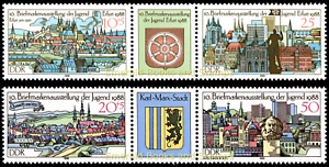 EBS-East-Germany-DDR-1988-Youth-Stamp-Exhibition-Michel-3173-3176ZD-MNH