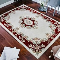 Indian Aubusson Cream Red Wool Pile Traditional Rugs 80x150cm Chinese Design