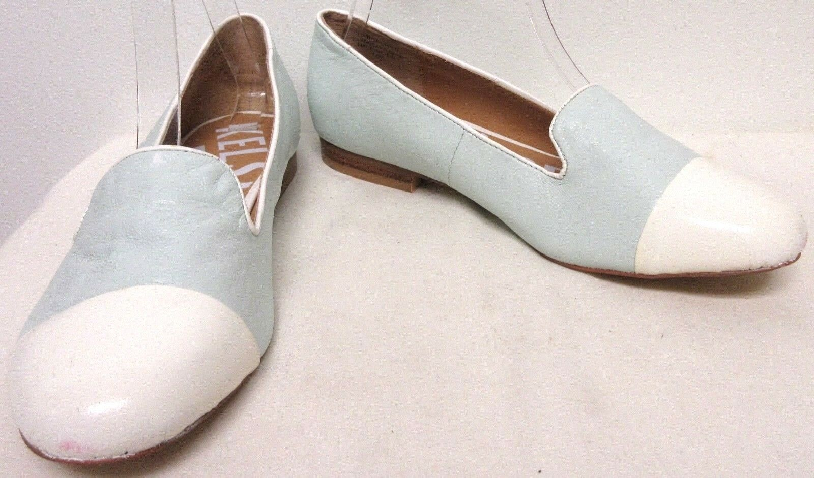 KELSI DAGGER AQUA LEATHER LOW HEEL SHOES WITH WHITE PATENT CAP TOE LOAFERS 7.5 M