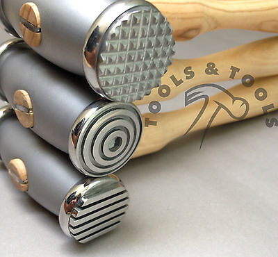 Metal Texturing Hammer 37-2062 Dimpled and Pinstripe Double Sided Patterned for Jewelry Making