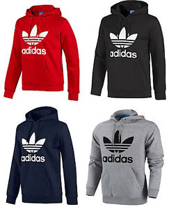 0c2be8a10fe Image is loading Adidas-Originals-Mens-Trefoil-Fleece-Hooded-Sweatshirt- Hoodie-