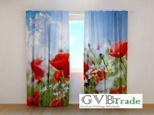 Vorhang Fotodruck fotogardinen mohnblumen fotovorhang vorhang gardinen 3d qualität