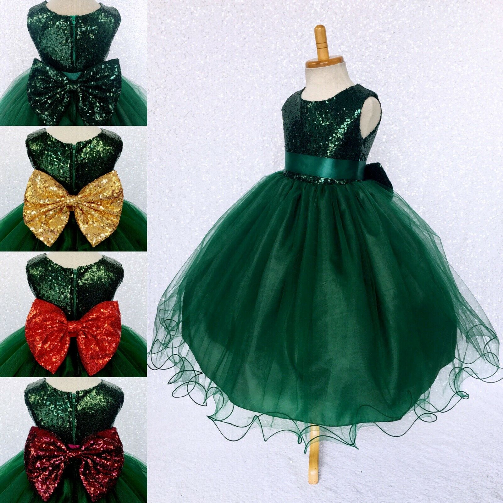Mini Sequence Hunter Green 2 Layer Tulle Flower Girl Gown Wedding Birthday Party