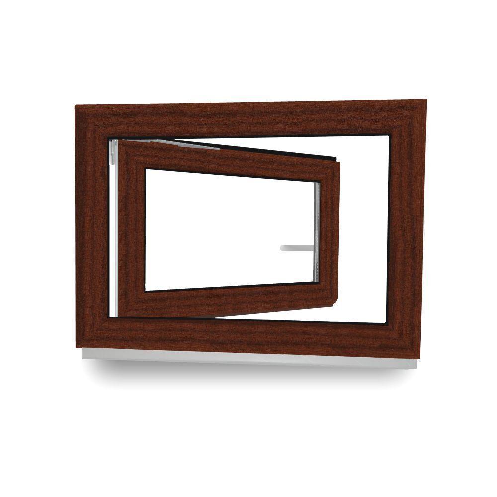 Kellerfenster Kunststoff Fenster 2 Fach Verglast innen weiß außen Mahagoni