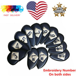 Neoprene-Iron-Covers-Golf-Club-3-4-5-6-7-8-9-PW-AW-SW-LW-Full-Set-Embroidery-New