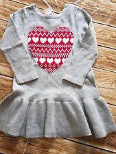 New Baby Gap Girls Heart Dress Tunic Light Heather Gray Light Weight Size 2T