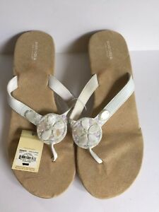 SONOMA Life + Style Women's Suede Thong Sandals w/Shells White Size XL (11) NEW