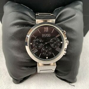 Hugo-Boss-Women-039-s-Quartz-Black-Silver-Stainless-Steel-Strap-Analogue-1502398
