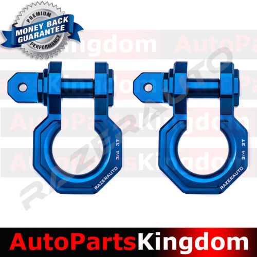 "1 Pair 3//4/"" Blue 3.0 Ton Aluminum D-Ring Bow Shackle Heavy Duty Offroad ATV RV"