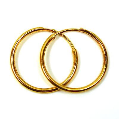 1 par 9ct Aro Pendientes de oro 18 mm Llano listones de peso mediano
