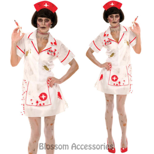 K9 Zombie Nurse Fancy Dress Horror Bloody Scary Halloween Party Costume Outfit
