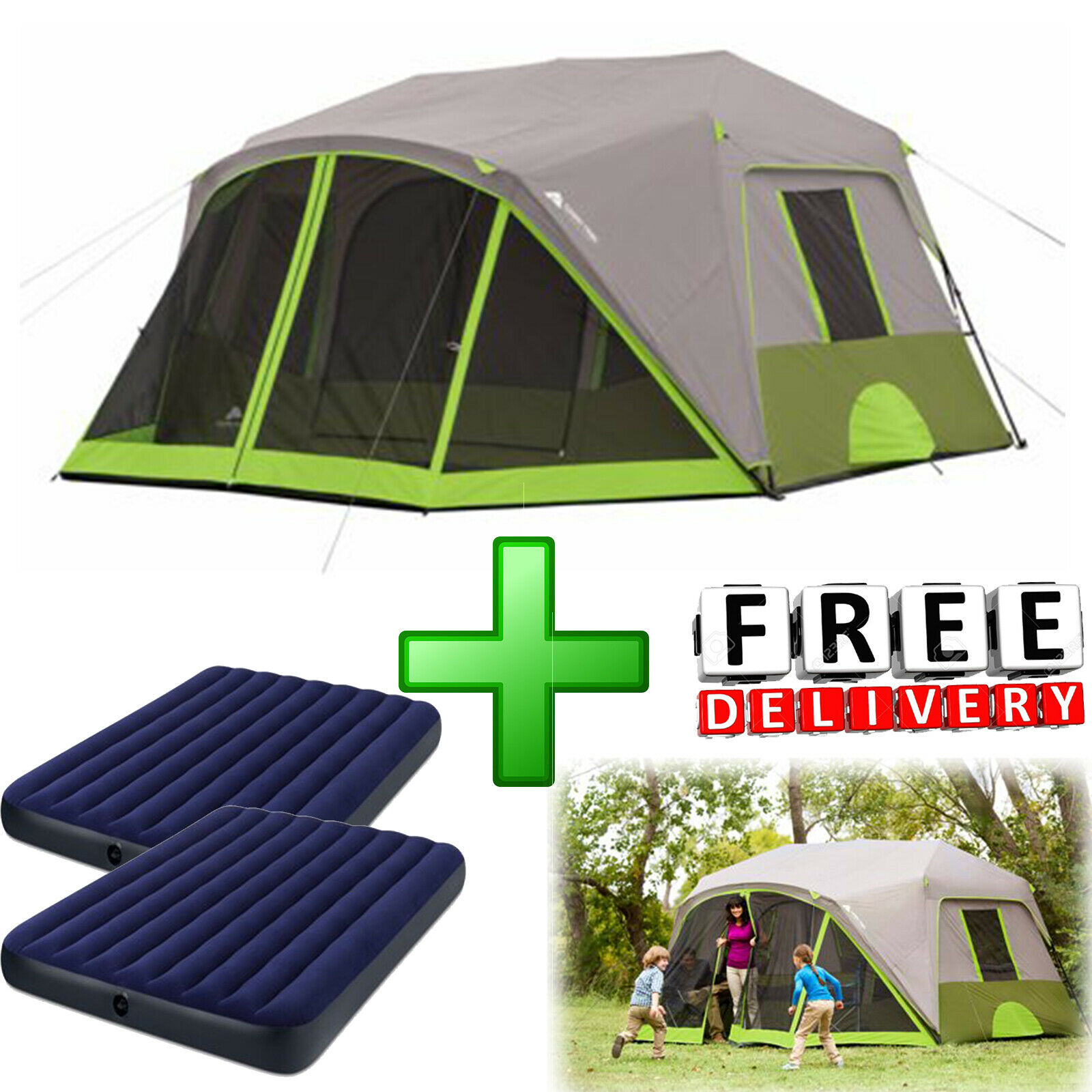 Camping Tent 8 Person Cabin 2 Queen Airbeds  Outdoor Family Hiking Shelter  honest service