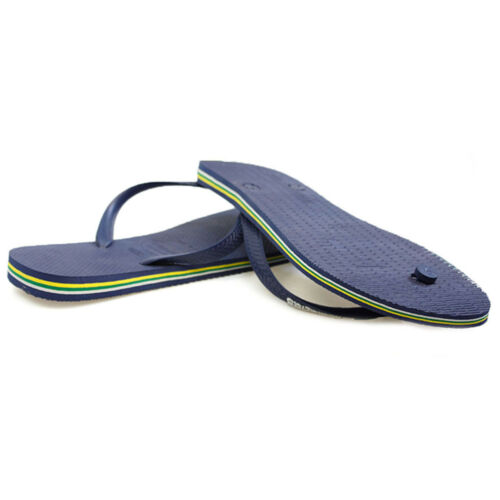 Havaianas Brasil Logo Navy Blue Rubber Flip Flops Mens Summer Beach Casual Shoes