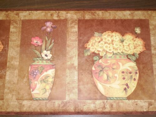 Rich Colored Flowers in Vases Border on Shades of Brown /& Yellow   S5241B