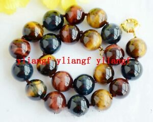 "12mm Genuine Natural Round Yellow Tiger/'s eye Gemstone Beads Necklace 36/"" AAA"
