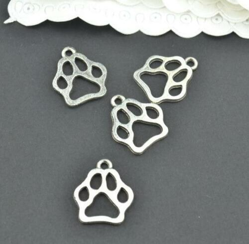 250pcs Antique silver charms paw print pendants for jewelry findings 13x11mm
