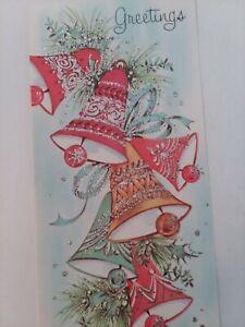 UNUSED-Vtg-GLITTER-Silvered-BELLS-Pink-AQUA-CHRISTMAS-GREETING-CARD-w-Envelope