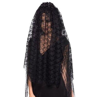 Adulti Black Widow Velo Sposa Gotica Donna Costume Accessorio Nuovo-mostra Il Titolo Originale