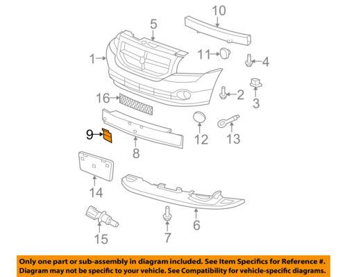 Dodge CHRYSLER OEM Caliber Front Bumper Grille-Closure Panel Right ...