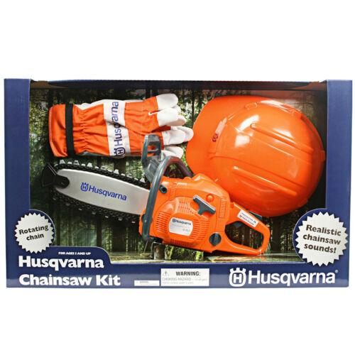 Husqvarna Spielzeugsäge + Helm u. Handschuhe