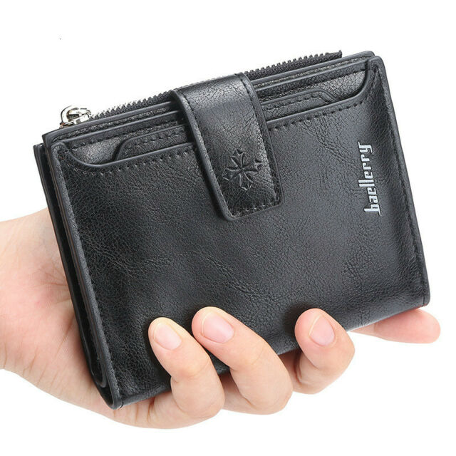 Men RFID Blocking Bifold Leather First Layer Credit Card Holder ID Window Wallet
