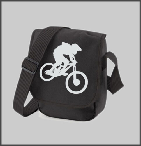 BLACK REPORTER SHOULDER BAG DOWN HILL DOWNHILL BIKE BIKES PERSONALISED GIFT