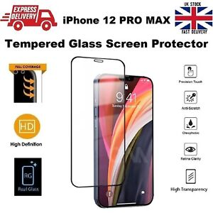 For iPhone 12 PRO MAX Screen Protector Glass Full Coverage Edge-to-Edge 6.7 inch
