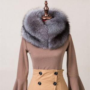 Red-Fox-Fur-Collar-amp-Cuffs-Stole-Shawl-Silver-Fox-Fur-Scarf-Headband-Hat-Cap-White