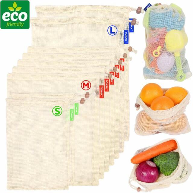 Cotton Reusable Produce Vegetable Bags|Cotton Cloth Mesh Muslin Produce Grocery