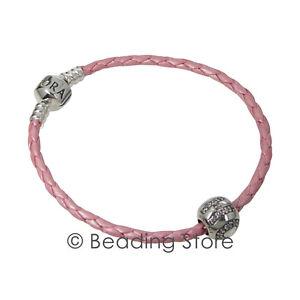 NEW-Pandora-Hope-CZ-Charm-Breast-Cancer-Pink-Leather-Bracelet-AUB590705CMP-S3