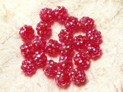 10pc Perles Résine Shamballas 10x8mm Rose Fuchsia Framboise   4558550030122