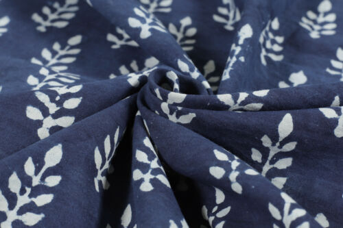 Indian Blue Indigo Hand Block Print Cotton Fabric Dressmaking Sewing By 5 Yard