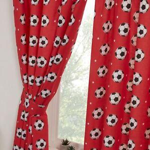 Football-Rouge-Rideaux-Entierement-Double-66x54-avec-Embrasses-Chambre-Enfants
