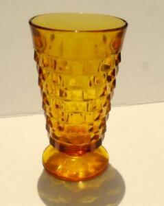 Cubist-Indiana-Colony-Amber-Glass-Whitehall-Footed-Tumbler-14oz