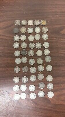 Barber Dime Roll 90/% Silver $5 Face 50 Circulated Mixed Date US Coin Lot