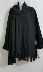 Pamela-McCoy-Jacket-Cape-Black-Fringe-Collar-Scarf-Open-NWT-Womens-Size-S-M