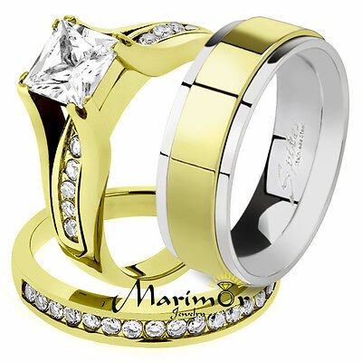 His /& Her 14K G.P Stainless Steel 3.75 Ct Bridal Ring Set /& Men/'s Spinner Band