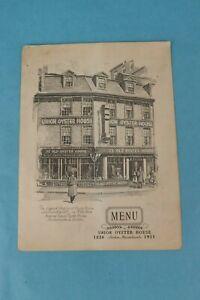 VINTAGE 1951 UNION OYSTER HOUSE SOUVENIR RESTAURANT DINNER MENU BOSTON, MA.