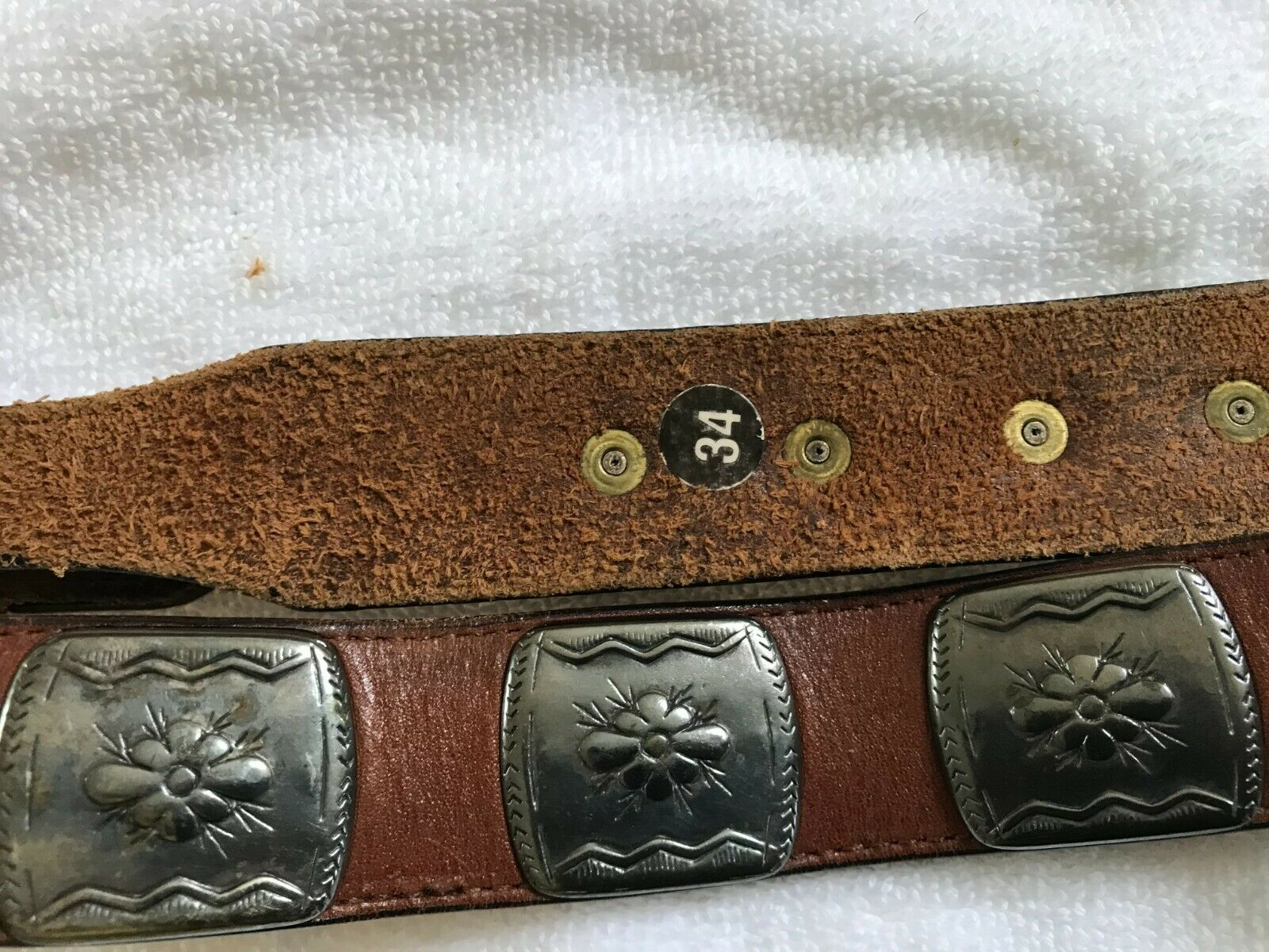 ANOTHER LINE Brown Leather Belt with Metal Riveted Floral Squares Size 34