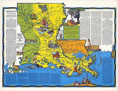 1941 LOUISIANA state pictorial map history folklore whimsical POSTER Aitchison
