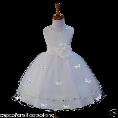 IVORY WEDDING BUTTERFLIES FLOWER GIRL PAGEANT DRESS SM MED 2 2T 3 3T 4 4T 6 8 10