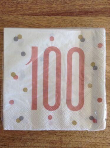 Pack of 16 Rose Gold Glitz 100th Birthday Napkins